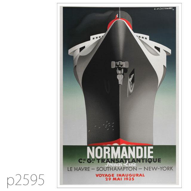 フレンチライン・客船ノルマンディーのポスター | レプリカポストカード2595