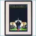 1983年 客船クイーンエリザベス2のポスター黒
