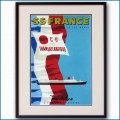 1961年 客船フランスのポスター 2025LL黒