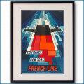 1968年 ジョン・べインブリッジ 客船フランスのポスター 2027LL黒