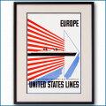 1952年 レスター・トーマス・ビール 客船ユナイテッドステーツのポスター EUROPE 2029LL黒