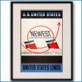 1952年 レスター・トーマス・ビール 客船ユナイテッドステーツのポスター NEWEST 2030LL黒