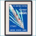 1952年 USL 客船ユナイテッドステーツのポスター 黒