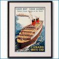 1947年 ウォルター・トーマス 客船クイーンエリザベスとクイーンメリーのポスター 2034LL黒