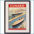 1950's キュナード・クイーンズの客船ポスター 2035LL黒