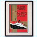 1936年 客船クイーンメリーのポスター 2043LL黒