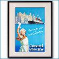 1939年 トム・カー 客船クイーンメリーのポスター 2045LL黒