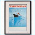 1937年 J・オヴィニュ 客船ノルマンディーのポスター 黒