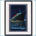 1939年 客船ノルマンディーのポスター 2076LL黒