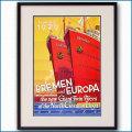 1929年 客船ブレーメンとオイローパのポスター 2081LL黒