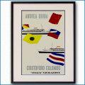 1957年 エンリコ・チウチ 客船アンドレア・ドリアのポスター 黒