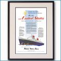 1952年 客船ユナイテッドステーツ・処女航海雑誌広告 2098LL黒