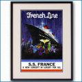 1961年 客船フランスのポスター 2116LL黒