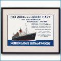 1936年 レスリー・カー 客船クイーンメリーのポスター 黒
