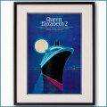1980年 客船クイーンエリザベス2のポスター 2137LL黒