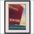 1937年 フリッツ・クック 客船ブレーメンのポスター 黒