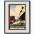 1930's 仏東部鉄道と客船イル・ド・フランスのポスター 2411LL黒