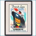 1950年 エドゥアール・コラン 客船リベルテのポスター 黒