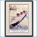 1936年 客船ノルマンディーのポスター 2462LL黒