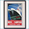 1932年 客船レックスとサヴォアのポスター 2463LL黒