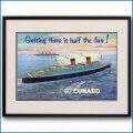 1954年 キュナード・客船クイーンエリザベス見開き雑誌広告 2582LL 黒