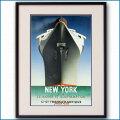 1935年 客船ノルマンディー・ニューヨークのポスター 2591LL黒