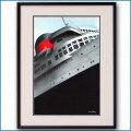 1937年 ジャン・オヴィニュ 客船ノルマンディー・ブローシャー扉イラスト 2593LL黒