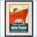 1937年 北ドイツロイド 客船ブレーメンのポスター 黒
