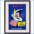 1955年頃 キュナードライン客船ポスター 2720LL黒