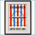 1952年 客船アメリカのポスター黒