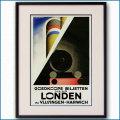 1928年 カッサンドル ロンドン 英仏海峡連絡のポスター黒
