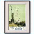 1933年 ポート・オブ・ロンドン ロンドントラムウェイのポスター黒