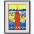 1936年 ストックホルム市庁舎 ストックホルムのポスター黒