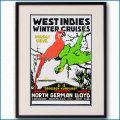 1913年 北ドイツロイドライン カリブ海ウィンタークルーズのポスター黒