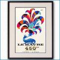 1967年 客船フランス ル・アーブル開港450周年のポスター黒