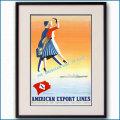 1955年 アルダ・サッシ アメリカン・エクスポート・ラインのポスター 黒