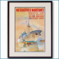 1958年 MMフランス郵船 客船ヴェトナム級のポスター 黒