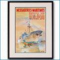 1958年 MMフランス郵船 客船ヴェトナム級のポスター 3041LL黒