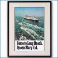 1970年 客船クイーンメリーのポスター 3045LL黒