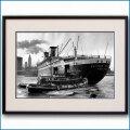 1950年代 客船ユナイテッドステーツとタグボートの写真 3300LL黒