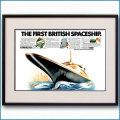 1968年 客船クイーンエリザベス2就役予告・見開き雑誌広告 3345LL黒