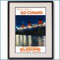 1954年 キュナード 客船クイーンメリーのポスター 3380LL黒