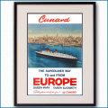 1954年 キュナード 客船クイーンエリザベスのポスター 3381LL黒