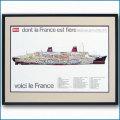 客船フランスの断面図・額入りアートポスター HGV2122BK