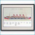 客船アキタニアの断面図・額入りアートポスターHGV2469BK