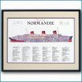 客船ノルマンディーの断面図・額入りアートポスター HGV2470BK