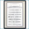 モーレタニアの図面・一般配置図、額入りアートポスター HGV2479BK