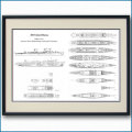 客船ユナイテッドステーツの一般配置図 図面・デッキプラン 額入りアートポスター 2693XL黒