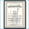 日本郵船・氷川丸の一般配置図 図面・デッキプラン 額入りアートポスター 2695XL黒