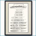 日本郵船・橿原丸の一般配置図 図面・デッキプラン 額入りアートポスター 2698XL黒